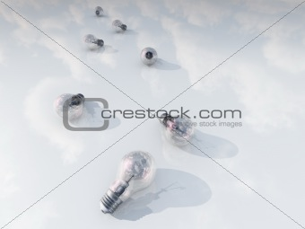 light bulbs on white with reflecting clouds