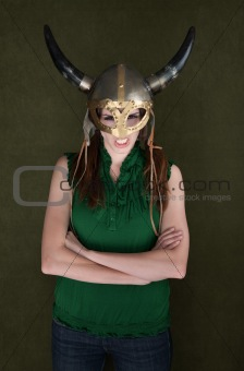 Woman in Viking Helmet