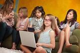 Little Girl Using Laptop