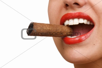 mouth with red lips biting a cigar