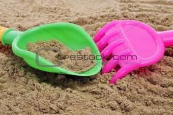 beach shovel and rake