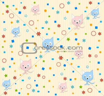 Cat pattern background vector