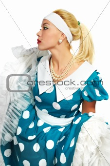 beautiful lady in a polka dot dress