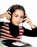 child with headphones and