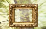 Gilded frame hanging with  abstract background