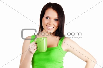 pretty girl with a green cup