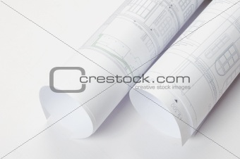 Architectural plans in rolls