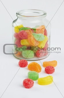 colorful candy in glass jar