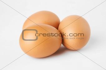 Three eggs on a white