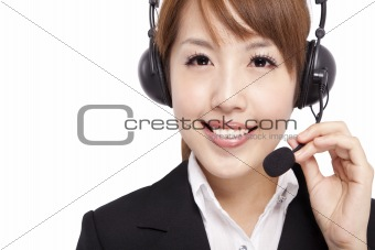 Smiling businesswoman and Customer Representative with headset