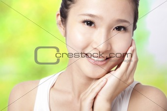 Beautiful asian young woman with skin care