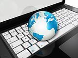 World globe on a laptop computer