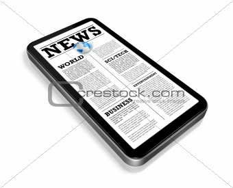 News on a mobile phone isolated on white