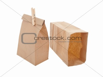 Old-fashied lunch bag with wooden clothes pin