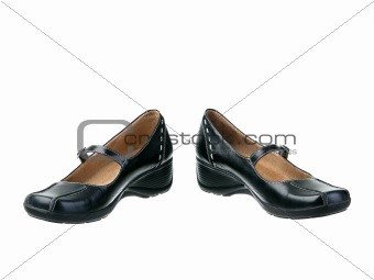 Black leather classic leather shoes open position