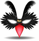 black half mask with feathers
