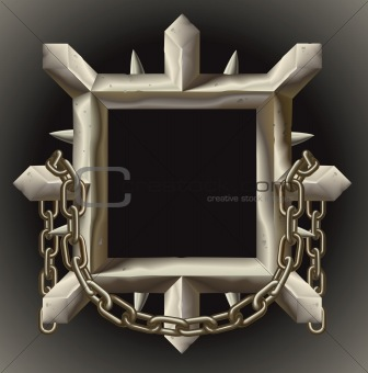 Rusty spiky metal frame border with chain