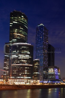 Modern skyscrapers at a evening