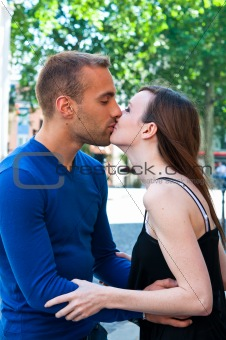 Portrait of Young kissing couple