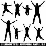 Silhouette happy jumping family