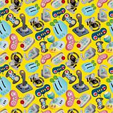cartoon game joystick seamless pattern
