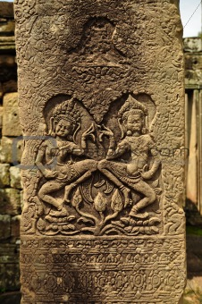 Apsara carved on the stone at bayon, cambodia