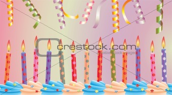 birthday candles on cake and streamers