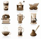 Coffee icon set.