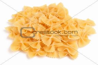 Bow tie pasta on white background