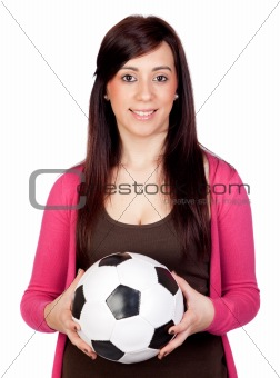 Beautiful brunette girl with soccer ball