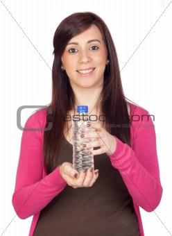Beautiful brunette girl with water bottle