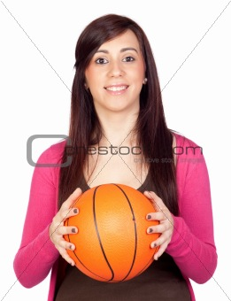 Beautiful brunette girl with basket ball