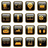 Mass Media icons - golden series