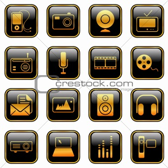 Mass Media icons - golden series