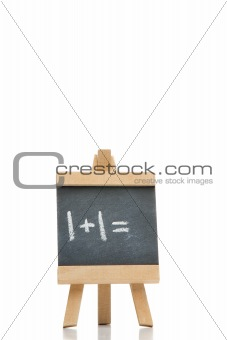 Chalkboard with an addition written on it