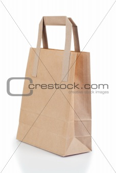 Angled brown paper bag