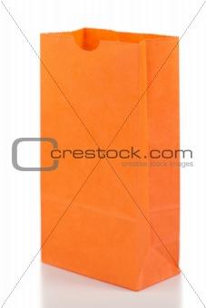 Angled orange paper bag