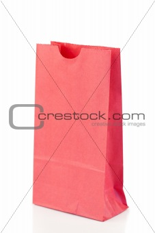 Angled pink paper bag