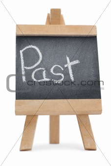 Chalkboard with the word past written on it