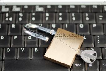 Padlock on a keyboard