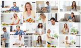 Montage of young adults preparing meals
