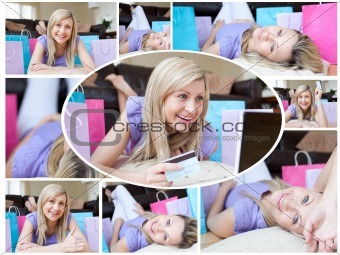 Montage of a cute woman happy having done her shopping