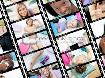 Collage of attractive women relaxing at home
