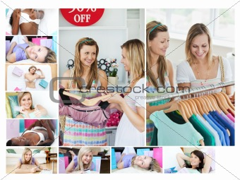 Montage of women doing shopping