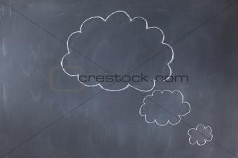 Empty cloud bubbles on a blackboard