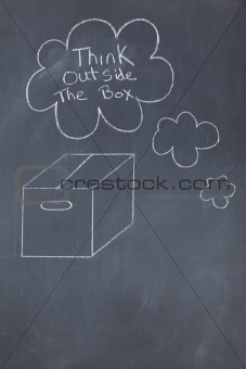 Box on black board