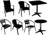 Tables and chairs illustration  - vector