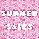 Background with pink stylized flowers and banner with Summer Sal