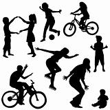 Hand drawn silhouettes of children playing