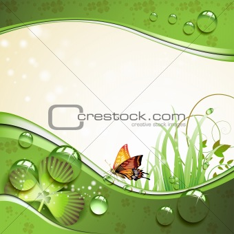 Butterfly, clover and grass with drops